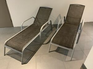 Sun lounges, recliner pool deck chairs x 2