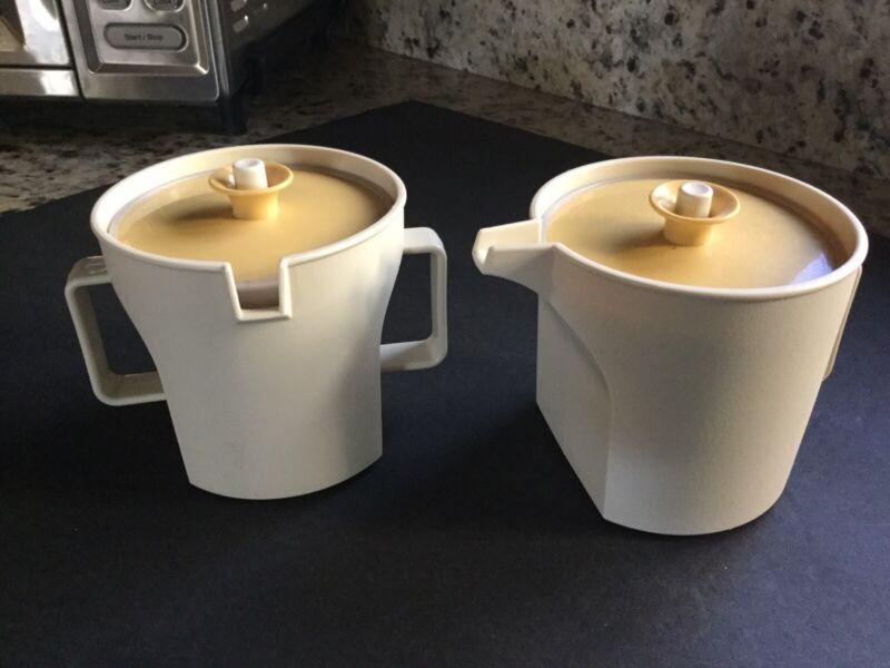 Vintage Tupperware Sugar & Creamer Set Almond wGold Push Button Lids Plastic EXC