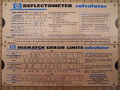 HP Agilent 5952-0948 Reflectometer & Mismatch Error Limits Slide Rule Calculator