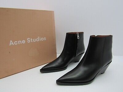 Acne Studios Cony Wedged Boots Pointy Toe Black Leather Ankle Booties Size EU 40