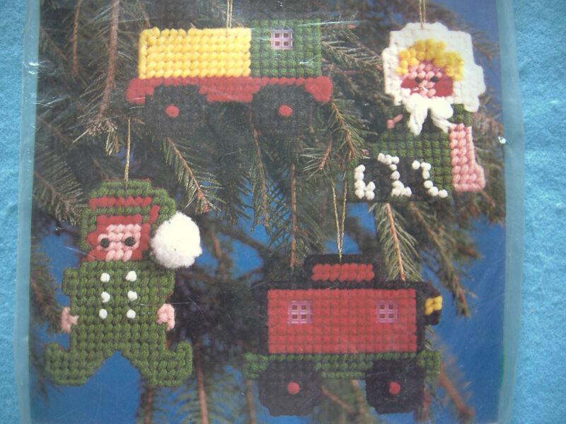 NEEDLEMAGIC PLASTIC CANVAS CHRISTMAS ORNAMENT KIT-TRAIN-TRUCK-BOY-GIRL