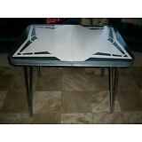 Vintage~Mid-Century Chrome/Formica~Retro Kitchen Table w/ One Leaf