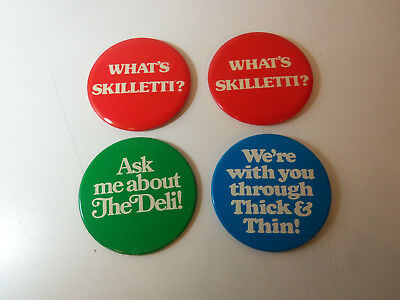 "Lot of 4 - 1976 SHAKEY'S PIZZA Large 4"" Pinback Buttons WHAT'S SKILLETTI? etc..."