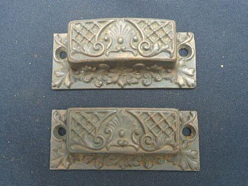 ornate Antique Hardware: pair (2) Eastlake square cast iron drawer / bin pulls