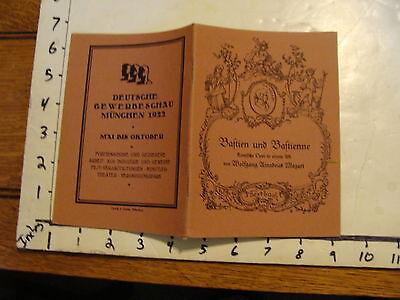 Vintage MARIONETTE Paper: BAFTIEN UND BAFTIENNE, mozart textbuch, 1922