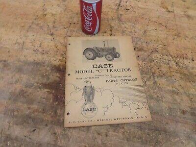 Antique Vintage Case Model C Co Tractor Manual Parts List Catalog No. C171