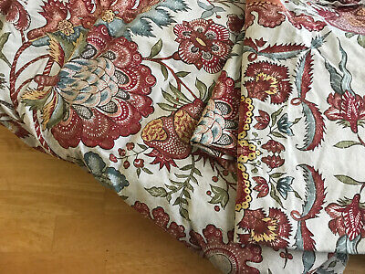 Pottery Barn King Size Duvet Set, Floral Cotton Beige Red with 2 Standard Shams