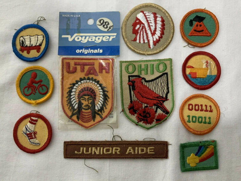 Vintage Girl Boy Scout Patches UTAH OHIO Junior Aide etc LOT