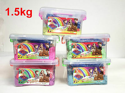 Magic Motion Sand 1.5kg 1500g Play Set Tub Moulds & Tray Children Toy Never dry