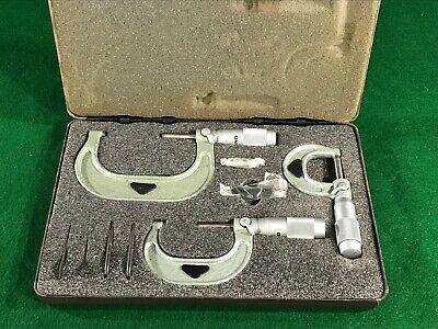Vintage Micrometer Set Model 601-03 Enco Manufacturing Co 0-1 1-2 2-3