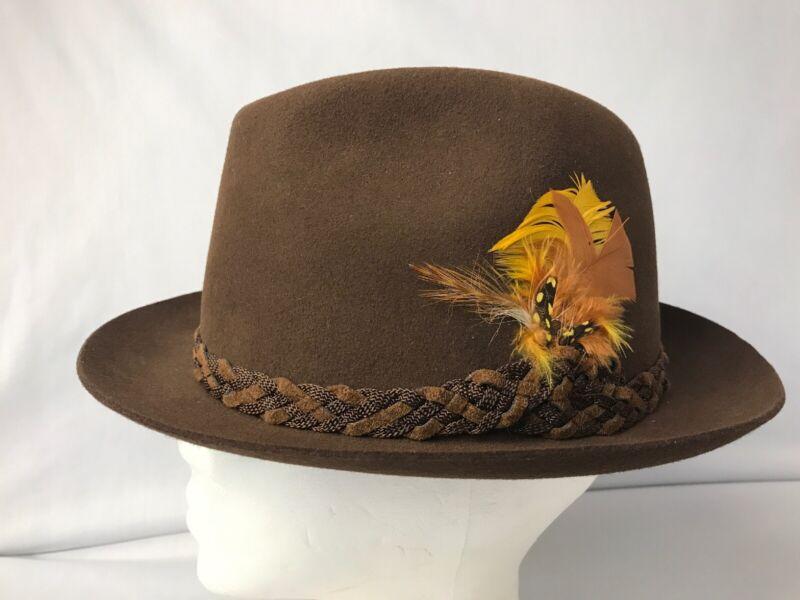 "Lee Men's Brown Wool Felt Fedora Hat Medium 21.5""Inside Band Made Canada Vintage"