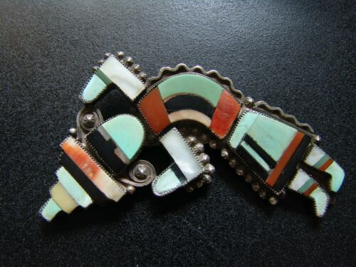 Large Vintage Silver Zuni Rainbow Man Pin-Turquoise, Jet, Spiny Oyster, MOP