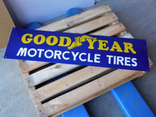 GOODYEAR MotorCycle Tires Dealership - XL Genuine Porcelain Enamel Sign
