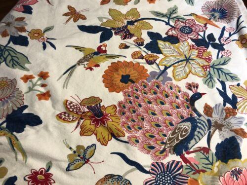 Pottery Barn Duvet Bettina Peacock  Floral Butterflies Cotton Linen Full/Queen