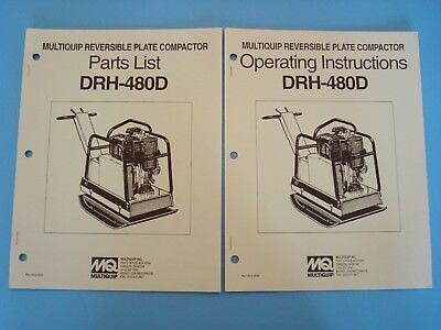 Mq Reversible Plate Compactor Drh-480d Operating Parts Manuals 1993