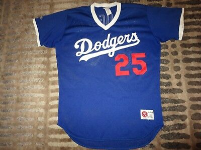 fd48bfa0cc4 Los Angeles Dodgers #25 Claughlin Rawlings Game Worn Used Jersey 44