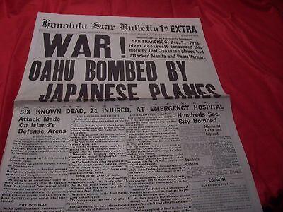 Honolulu Star Bulletin Newspaper Attacked Pearl Harbor December 7 1941