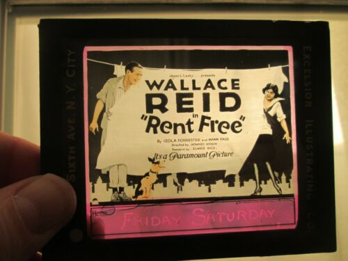 Rent Free   - Original 1922  Movie Glass Slide - Wallace Reid