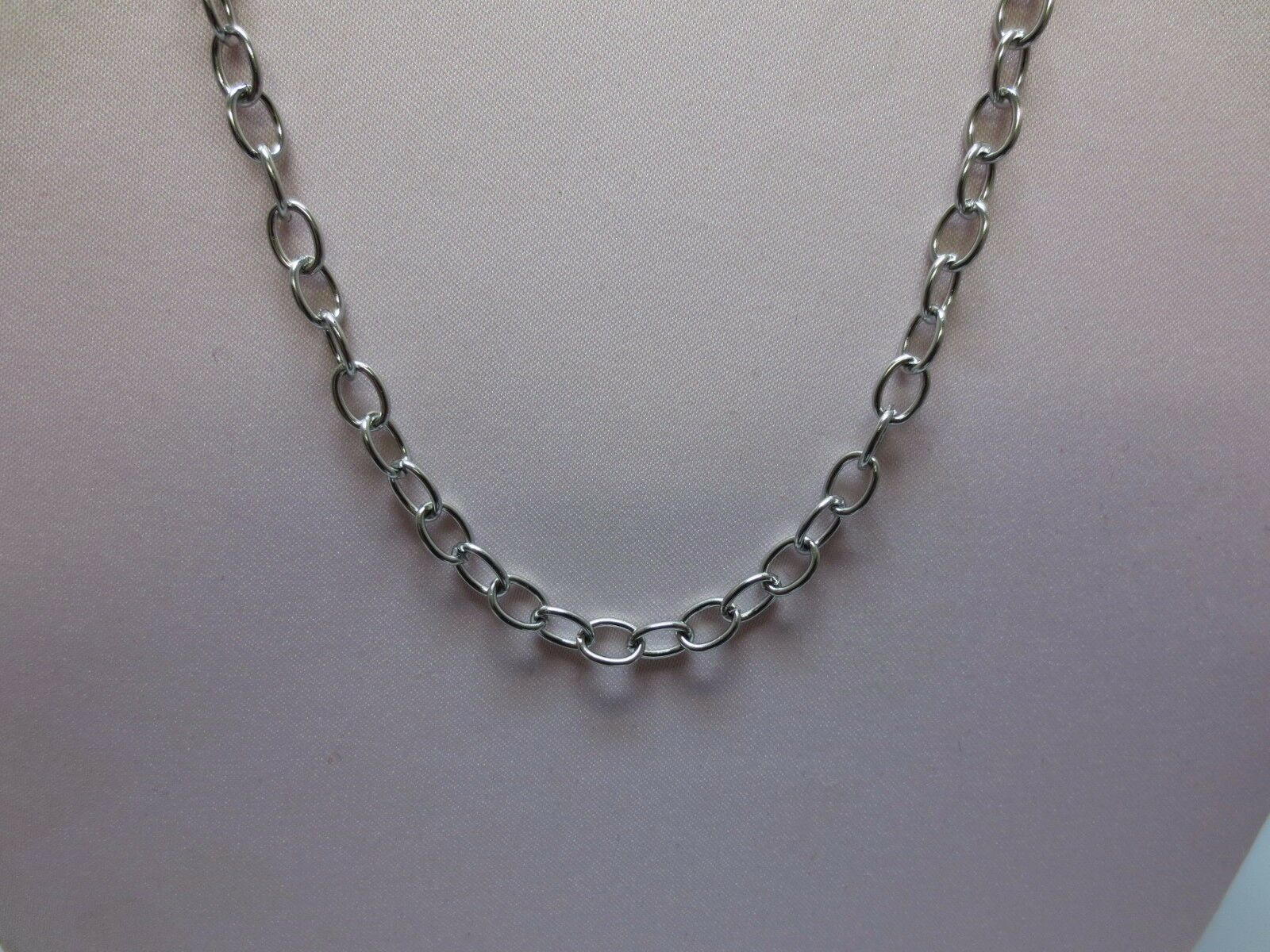 Stainless Steel Chain Silver Tone Link Cable Chain with Lobster Clasp APPR 26in