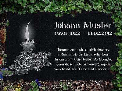 GRABPLATTE Grabtafel aus GRANIT 30x20 cm Wunsch Gravur mit Motiv - Grabstein-g48