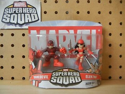 Marvel Super Hero Squad SEALED Wave 2: DAREDEVIL & ELEKTRA (red costumes) 2-Pack (Elektra Superhero)