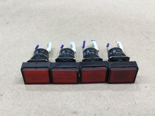 LOT OF 4 IDEC PILOT INDICATOR LIGHT LED 24VDC RED SQUARE AL6-P #57E12*AD