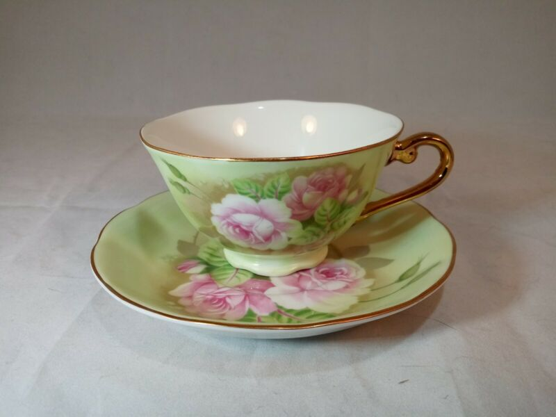 Lefton China Green Heritage Pink Roses Vintage 1987 Signed Cup & Saucer #05854