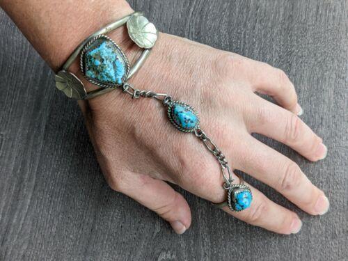 Vintage Mexican Sterling Turquoise slave bracelet ring set