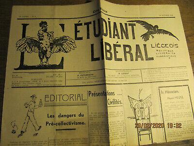 Journal L'Etudiant Libéral Liégeois 20 Octobre 1948 N°1