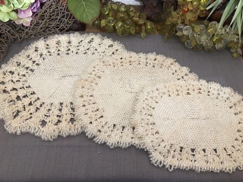 3 Antique Victorian GLASS  SEED BEAD Needle Work Crochet Doilies Doily Doilie
