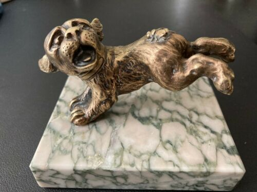 Rare Antique Boston Terrier w Bee Expressive Brass Plate Marble Base Statue