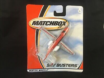 2001 Matchbox Sky Busters Ambulance MB042076 Red Silver Diecast Air Plane