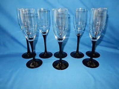 (Set of 8 Black Stem Wine Champagne Flutes Glass Crystal Goblet 8 3/4