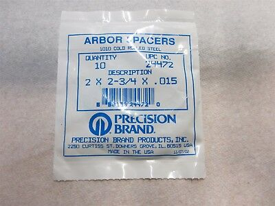 Precision Brand 24472 2 X 2-34 X .015 Steel Arbor Spacers 10 Pieces Usa
