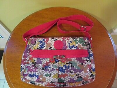 Kipling Printed Angie Purse Nylon Crossbody Handbag Colorful Spring Ready  EUC