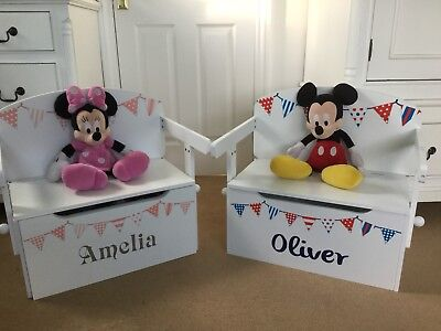 Kids Toy Box Personalised Converts To A Desk Pink Or Red White Blue Bunting