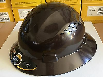 Hdpe  Dark Tan Full Brim Hard Hat With Fas Trac Suspension