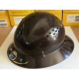 HDPE  Dark Tan Full Brim Hard Hat with Fas-trac Suspension