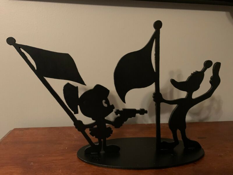 Marvin the Martian and Daffy Iron Metal Shadow Sculpture, Signed & Numbered