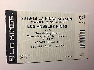 LOS ANGELES KINGS VS  NEW JERSEY DEVILS DECEMBER 6, 2018 TICKET (Los Angeles Kings Vs New Jersey Devils)