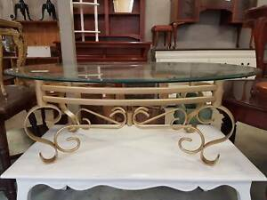 Reduced - Gold Glass Top Oval Coffee Table Chermside Brisbane North East Preview