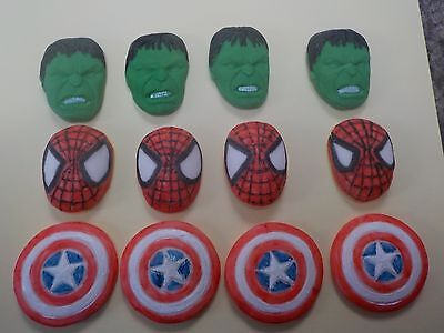 Avengers  Hulk Captain America Spiderman Inspired Cupcake Topper fondant
