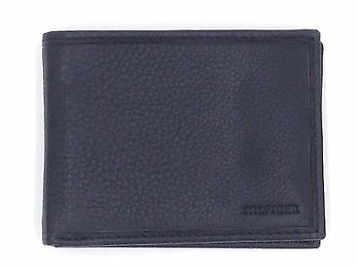 $95 TOMMY HILFIGER Mens BLACK LEATHER BILLFOLD 4CC BIFOLD CREDIT CARD ID WALLET