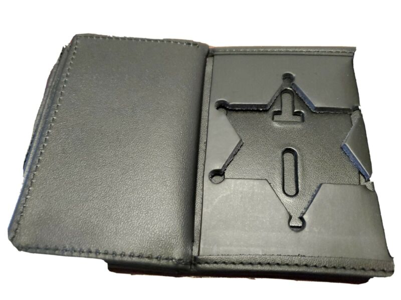 Leather police badge wallet