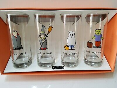4 Halloween Trick or Treat Monsters Tumbler Glasses 16 oz NIB Ghost Witch Frank