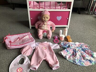Baby Annabell Doll Bundle With Baby Cot / Wooden Baby Doll Cot