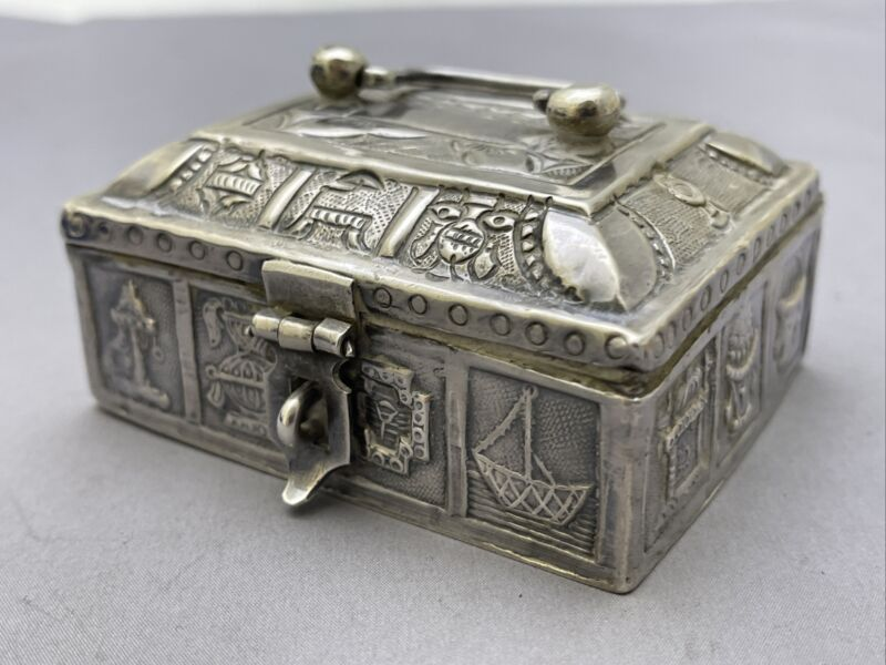 Antique Small Sterling Silver Hope Chest Rare z259 119g Tw