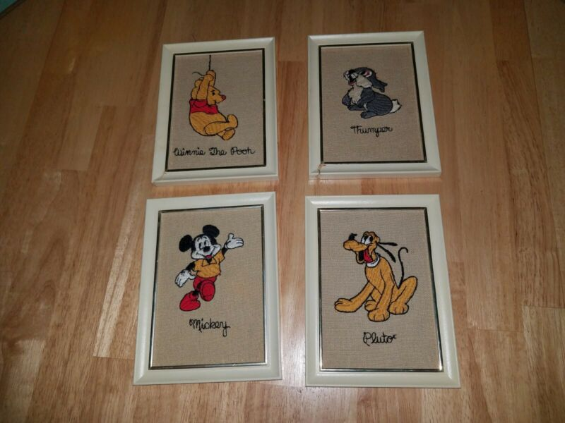 Vintage 60s Disney Embroidered Frame Pictures Mickey Mouse Pluto Thumper Pooh
