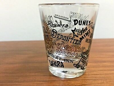Set of 2 Vintage Las Vegas Nevada Souvenir SHOT GLASS Sahara Stardust Riviera