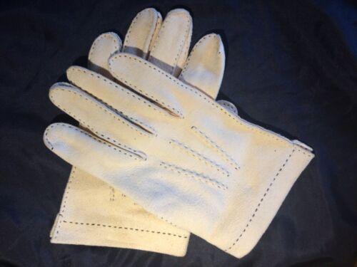 Mens vintage Suede leather Boulton dress Gloves 40's cream Hand Stitched 8.5 MCM